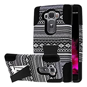 LG G Flex 2 Case, MPERO IMPACT X Series Dual Layered Tough Durable Shock Absorbing Silicone Polycarbonate Hybrid Kickstand Case for G Flex 2 [Perfect Fit & Precise Port Cut Outs] - Black Aztec