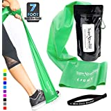 Super Exercise Band 7 ft. Long Latex Free Resistance Bands and Mini Door Anchor in Light, Medium or Heavy Tension for Gym, Fitness, Strength Training, Physical Therapy, Yoga, Pilates, Chair Workouts.