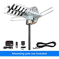 1PLUS HDTV Antenna Outdoor 150 Miles Range 360°Rotation Outdoor TV Antenna with Wireless Remote for Roof High Crystal Performance