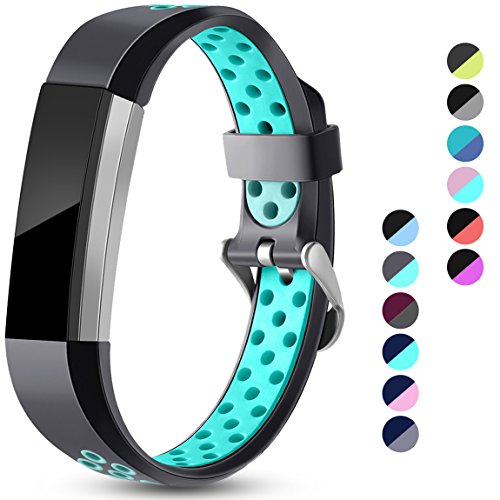 Maledan Replacement Bands Compatible for Fitbit Alta, Fitbit Alta HR and Fitbit Ace, Accessory Sport Bands Air-Holes Breathable Strap Wristbands with Stainless Steel Buckle, Gray/Teal, Small