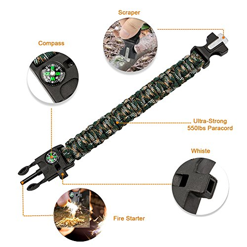 Epartswide Multifunctional Outdoor Survival Paracord Bracelet with Flint Fire Starter,Compass,Emergency Whistle&Knife/Scraper Pack of 7 by Epartswide (Image #1)