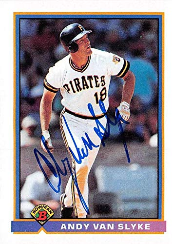 Andy Van Slyke autographed baseball card (Pittsburgh Pirates) 1991 Topps Bowman #529 - Baseball Slabbed Autographed Cards 1991 Bowman Autographed Card