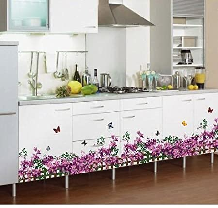 Syga 'Purple Butterfly Flower Fence Skirting Line' Wall Sticker (PVC Vinyl, 61 cm x 5 cm x 5 cm) Wall Stickers at amazon