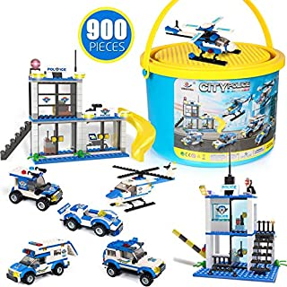 City Police Building Blocks Toys, Exercise N Play Early Learning Creative DIY Construction Toy for Boys Girls with Storage Bucket, 900 Pcs
