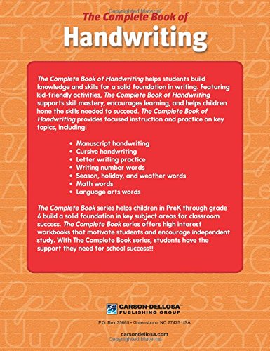 the complete book of handwriting grades k 3 thinking kids