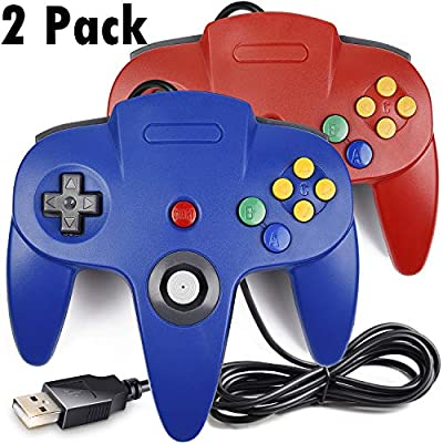 2 Pack USB Classic N64 Controller, iNNEXT N64 Wired PC Gamepad Joystick, 64 Bit GameStick Joypad for Windows PC MAC Linux Raspberry Pi 3 Genesis Higan Project 64 Retropie OpenEmu Emulator