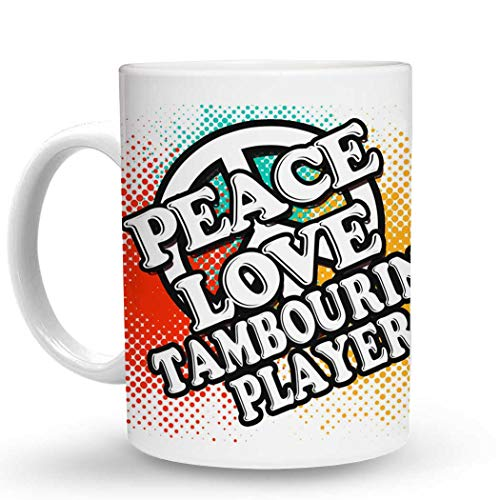 Makoroni - PEACE LOVE TAMBOURINE PLAYER Music - 11 Oz. Unique COFFEE MUG, Coffee ()
