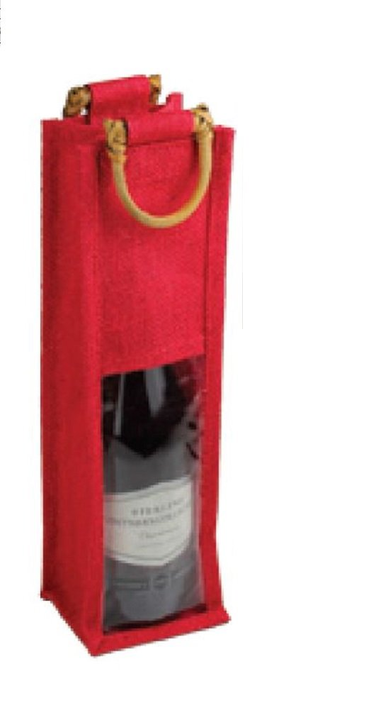 Single Bottle Burlap Gift Wine Bags with Wooden Handles & PVC Window (Pack of 5) (RED)