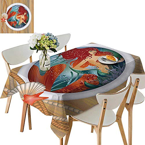 Square Porthole Mirror - UHOO2018 Solid Tablecloth Maid in Porthole Window Aquatic Cockleshell Mythology Yacht Nautical Square/Rectangle Spillproof Fabric Tablecloth,50 x102inch