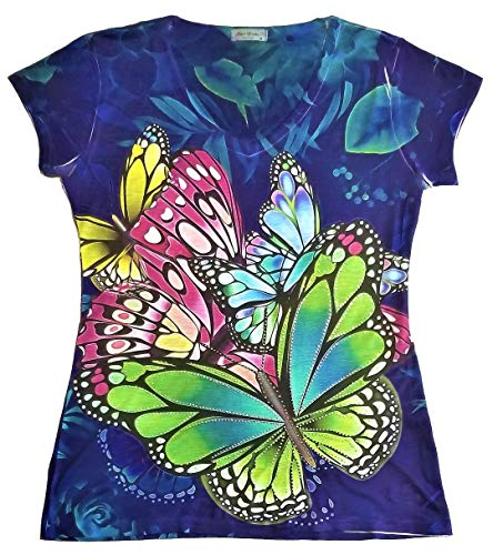 Sweet Gisele Colorful Butterfly Ladies V-Neck 3D Graphic T-Shirt w/Rhinestones (Large) Blue