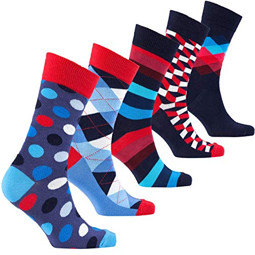Socks n Socks-Men's 5 pair Luxury Fun Cool Colorful Mix Dress Socks Gift Box