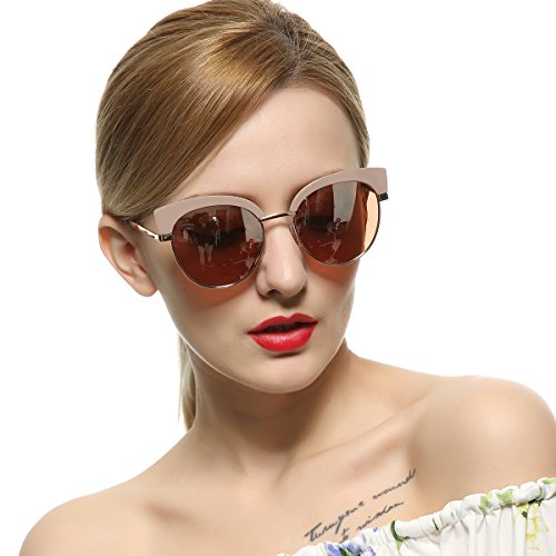 VIVIENFANG Mirrored Lens Classic Women's Semi Rimless Polarized Cat Eye Sunglasses 86697B - Cat Nude Eye Sunglasses