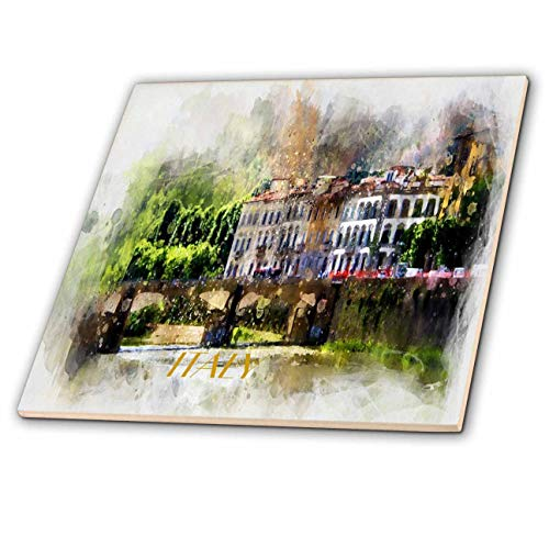 3dRose Lens Art by Florene - Watercolor Art - Image of Painting of Beautiful Italian Villa with Word Italy - 12 Inch Ceramic Tile (ct_306886_4)