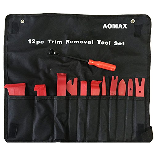 AOMAX Panel Removal Tool 12 pcs - Premium Auto Trim Upholstery Removal Kit - Easiest to Use Fastener Remover for Door Trim Molding Dash Panel