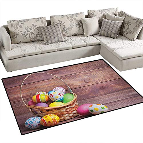 Easter,Floor Mat,Colorful Eggs with Flowers and Polka Dots in a Weave Basket on Wooden Rustic Pattern,Rugs for Bedroom,Multicolor Size:36