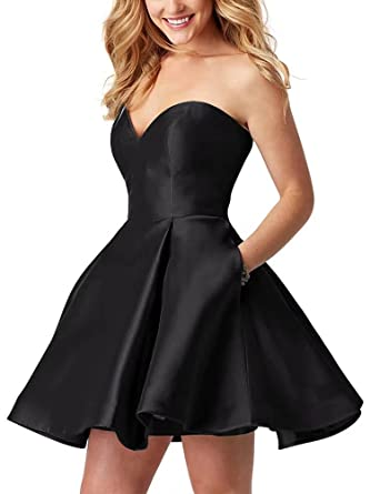 Strapless Homecoming Dresses Short Open Back Sweetheart Satin A-Line Prom Dress Black Size 2