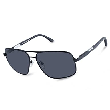 b9fd52c06b DUCO Premium Retro Square frame Polarized Sunglasses 100% UV protection  3379 (Black Frame Grey