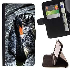 BullDog Case - FOR/Samsung Galaxy Note 4 IV / - / black swan water beak cute bird ornithology /- Monedero de cuero de la PU Llevar cubierta de la caja con el ID Credit Card Slots Flip funda de cuer