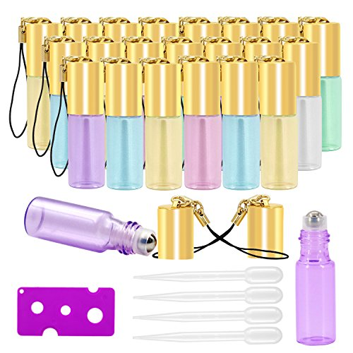 Glass Roller (Glass Roller Bottles - 5ml, 24 Pack, Pearl Colored by Mavogel, Stainless Steel Roller Balls, Essential Oil Opener and Droppers Included)