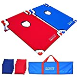 Wotryit Portable PVC Framed Cornhole Game Set with 8 Bean Bags and Travel Carrying Case - Choose American Flag Design or Classic Red & Blue