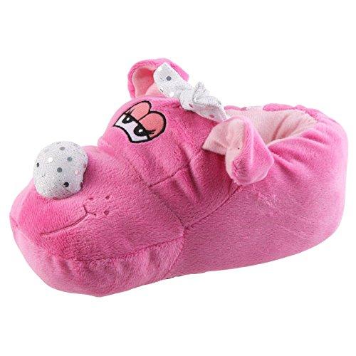 Tierhausschuhe Hund mit Schleifchen Tier Hausschuhe Pantoffel SchlappenKuscheltier PlüschMädchen Pink 27-41, TH-SHP Pink