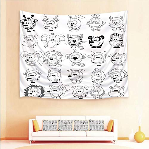 1pcs Hanging Tapestry 4pcs Pillow case,Wall Hanging Blanket Beach Towels Picnic Mat Home Decor,Style Animals Cat Zebra Girraffe Pig Panda Monkey,3D Printed Tapestry Bedroom Living Room