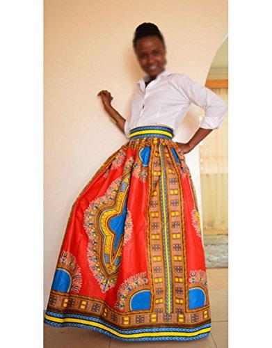 Monique Women African Style Floral Print Long Maxi Skirt High Waist Floor Length Skirts Dresses Longuettes for Ladies Yellow Orange L/XL by Monique (Image #2)