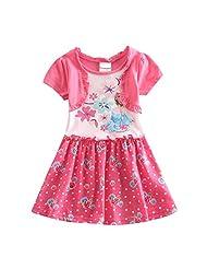 LEMONBABY 100%cotton Baby Girls' Summer Short Sleeve Frozen Dresses