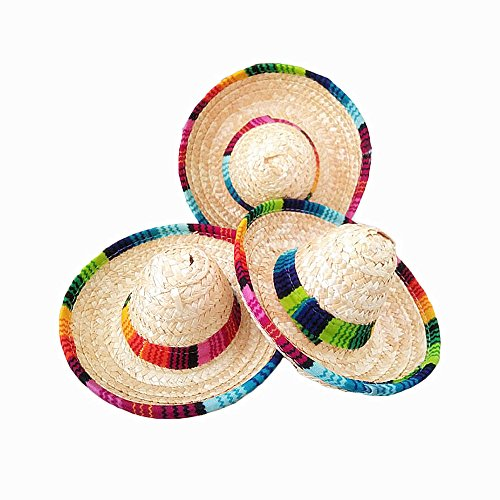 Crazy Night Natural Straw Mini Sombrero/New Design Mini Mexican hat,Tabletop Party Supplies,Fiesta Party Birthday Party Decorations Cinco de Mayo Party(Pack of 6)