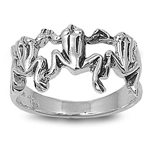 Sterling Silver Women's Cutout Frog Ring (Sizes 4-11) (Ring Size 11)