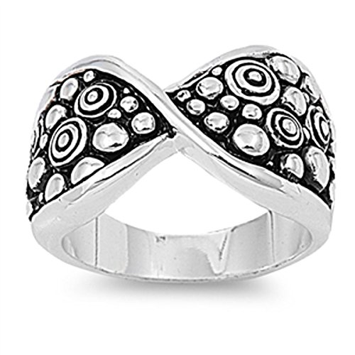 Prime Jewelry Collection Sterling Silver Women's Ball Bead Twist Ring (Sizes 6-9) (Ring Size (Sterling Shiny Twist Bead)