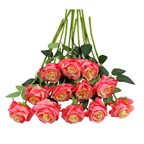 Pink Garden Bouquet Blossoms - Tifuly 12PCS Rose Artificial Flower, Single Stem Fake Floral Bridal Wedding Bouquet, Realistic Blossom Flora for Home Garden Party Hotel Office Decorations(Pink)