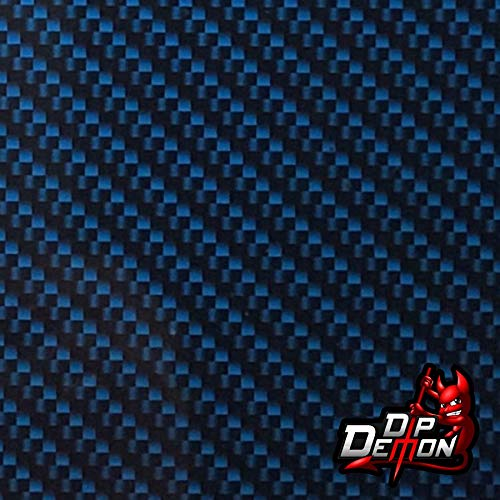 Hydrographic Film Carbon Fiber Bad Boy Blue Carbon Fiber Black and Dark Blue Real Carbon Fiber Look Twill Weave Hydro Graphic Water Transfer Film Hydro Dipping Dip Demon