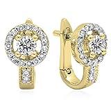 0.50 Carat (ctw) 14K Yellow Gold Round White Diamond Ladies Halo Style Hoop Earrings 1/2 CT