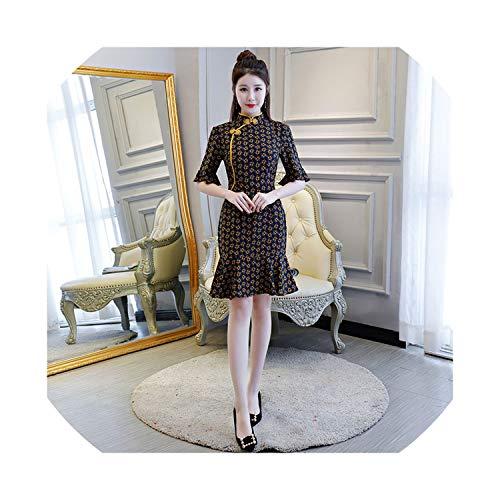 (HappyWe 2019 New Daily Slim Fashion Improved Fishtail Short Short Sleeve Cheongsam Party Dress,2070 Black,XXL)