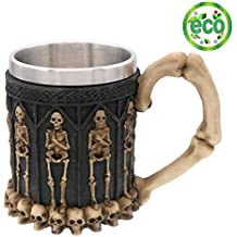 Halloween Skull Mug, Coideal Ossuary Style Skeleton Tankard Cool Stainless Steel Skull Coffee Mug Cup for Halloween, Party, Relatives and Friends (Black with standing skulls)