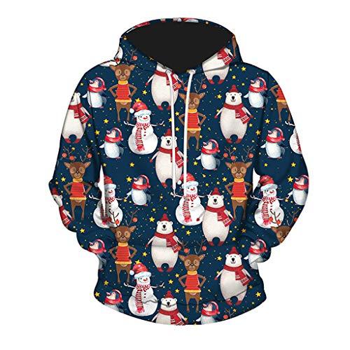 Harpi 2018 Christmas Women Men Couples 3D Christmas Print Hoodies Sweatshirt,Autumn Winter Hooded Long Sleeve Blouse Tops