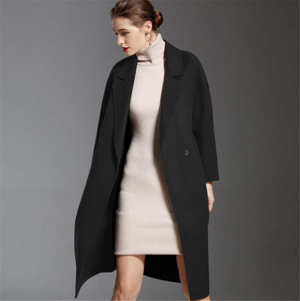 Women's Cashmere Coat Jacket, Europe and America Temperament Black Slim Fit Hairy VNeck Lapel Keep Warm Coat