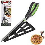 11 Inch Stainless Steel Pizza Scissors by ULee, Easily Getting Your Hot Pizza off from the Tray, A Replacement of Your Regular Pizza Cutter (Black-Green)