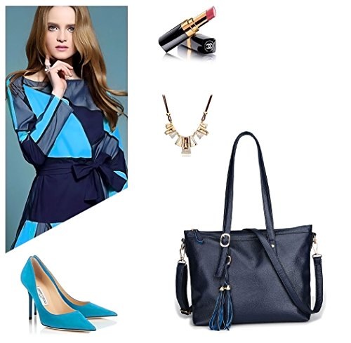 Bags Womens Pu Leather Totes Shoppers Handbags Blue And Shoulder Shoulder Deerword Handbags Bags t8PwxqtzdA