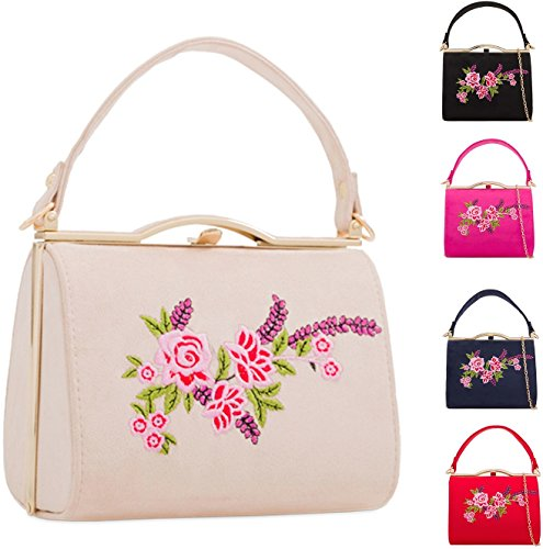 Clutch Purse Envelope Messenger Bag Cross Floral Evening KH2165 Handbag Party Box Shoulder Body Rose Suede Ladies Women's IqBxORw