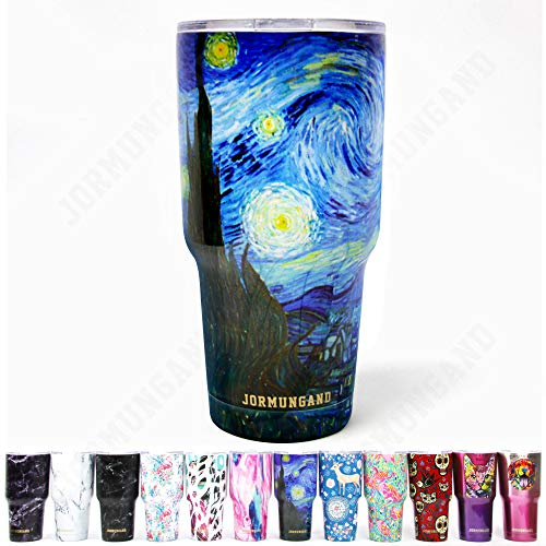 Jormungand Tumbler 30oz Stainless Steel Vacuum Insulated Travel Mug with Straw Friendly Lid Double Wall Coffee Cup Starry Night (Insulated Van)