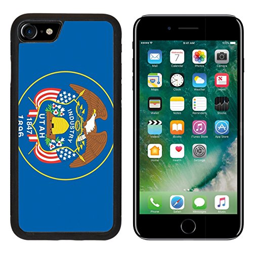 Liili iPhone 7 Case and iPhone 8 Case Silicone Bumper Shockproof Anti-Scratch Resistant Tempered Glass Hard Cover The Flag of the American State of Utah IMAGE ID 19122028 ()