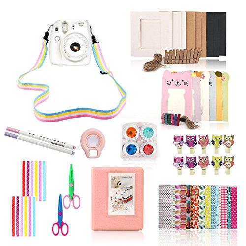 Fujifilm Instax Mini 8 / Mini 8+ Camera Accessories – 10 in 1 Pink Mini 8 Camera Bundle Set Accessory (Owl Clip/Camera Strap/Album/Selfie Mirror/Filter/Frame/Scissor/Border Sticker/Film Sticker/Pen)