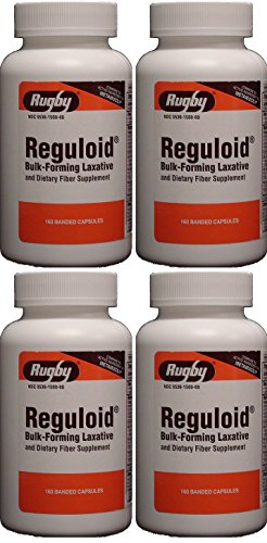 Reguloid Psyllium Husk Natural Vegetable Bulk Forming Laxative Fiber Supplement Capsules Therapy for Regularity Generic for Metamucil 160 Capsules per Bottle PACK of 4 Total 640 - Reguloid Natural