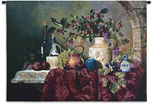 Tavola di Capri by Fran Di Giacomo | Woven Tapestry Wall Art Hanging | Classic Italian Still Life Feast | 100% Cotton USA Size 53x36