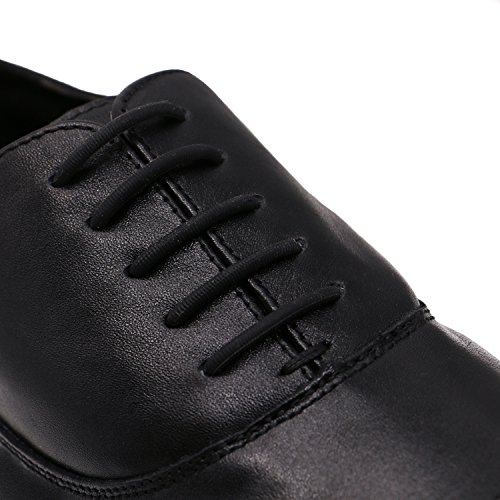 Shoe Laces for Men, Silicone Waxed Thin Oxford Round Shoe Laces (Black) (Dark Pink Silicon Sleeve)
