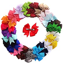 12 Pieces 7.5cm Multicoloured Baby Girl Kids Grosgrain Ribbon Boutique Small Hair Bows Alligator Bowknot Hair Clips Set For Girls