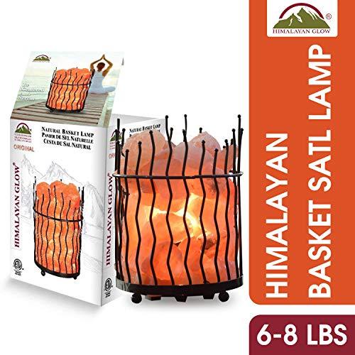 Himalayan Glow 1332 Pillar Style Basket lamp with Pink Salt Chunks