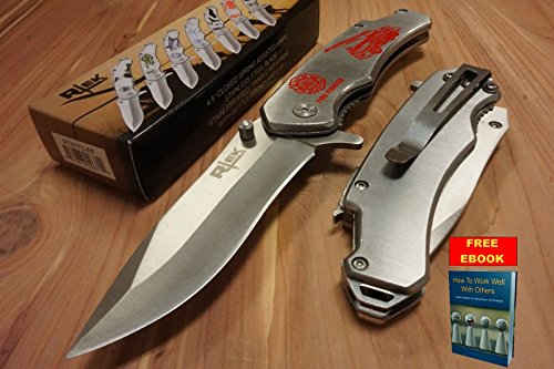 Only US Firefighter Spring Assisted Mini POCKET KNIFE Silver MONEY CLIP Bottle (Iron Fighter)